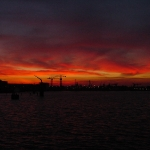 Sunrise over Amsterdam Docks