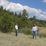 Gina and Melisa on our land