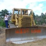 Melisa checking out the bulldozer