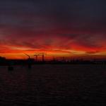 Sunrise over Amsterdam Docks